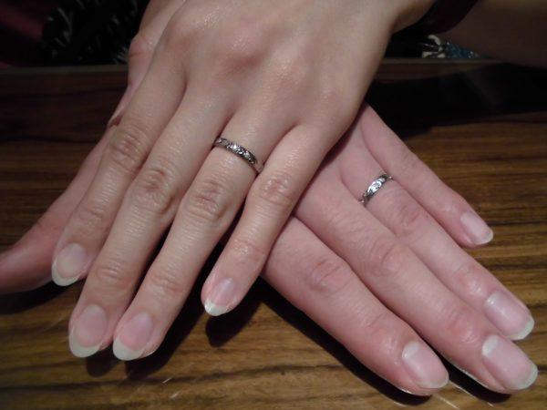 マカナの結婚指輪のプリンセスカットでガーデン大阪岸和田市のお客様