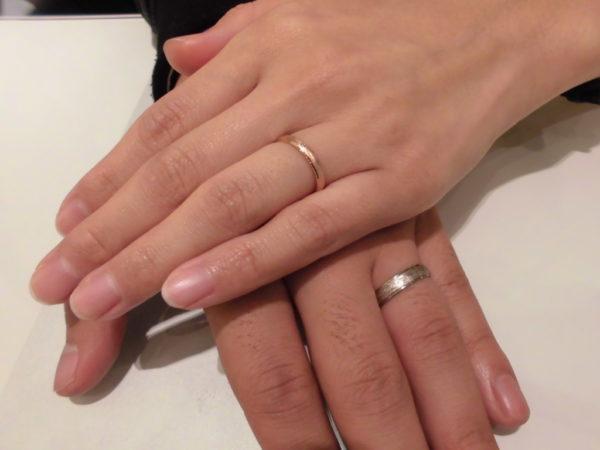 鍛造フィッシャーで結婚指輪のホワイトゴールドとローズゴールドのお客様