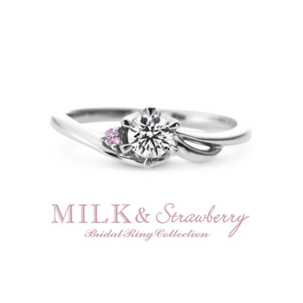 ミルク&ストロベリーのウィンドウの婚約指輪で大阪岸和田市