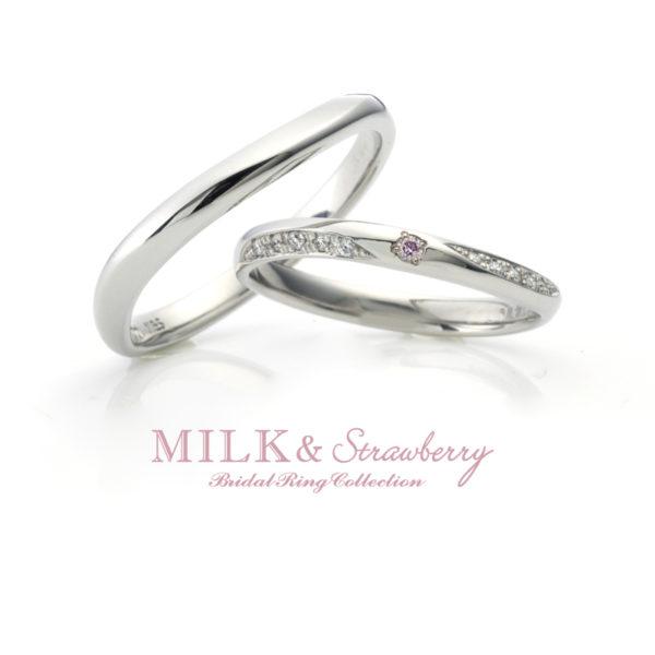 ミルク&ストロベリーのパステルの結婚指輪で大阪岸和田市