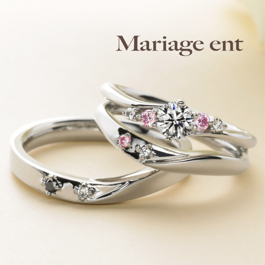 大阪婚約指輪キラキラ可愛いピンクダイヤ重ね着け