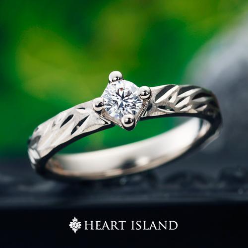大阪のハワイアンジュエリー人気の婚約指輪ハートアイランドプラチナ