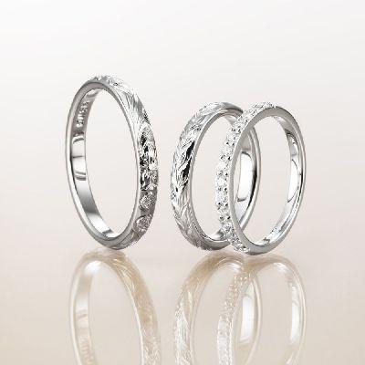 マカナMakanaのバレルタイプ2.8mm結婚指輪と婚約指輪ハーフエタPt