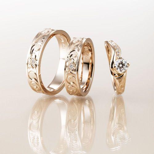 マカナMakanaのフラットタイプ5mm結婚指輪と婚約指輪ME-1PG