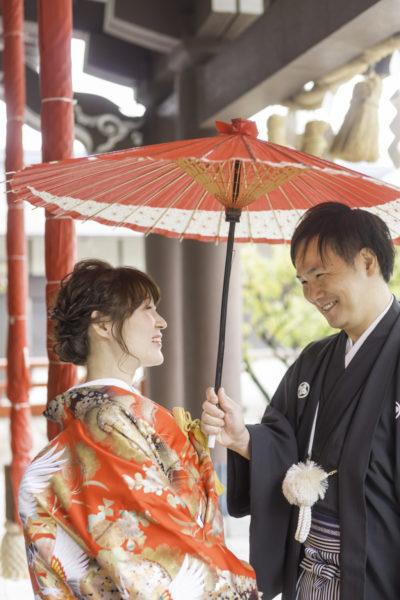 大阪の結婚前撮り和装岸和田天満宮