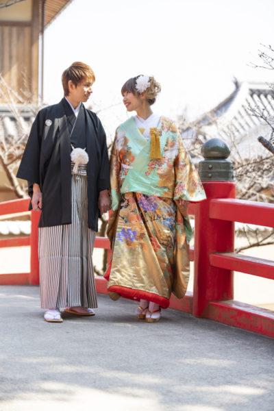 大阪の結婚前撮り和装のロケ水間寺