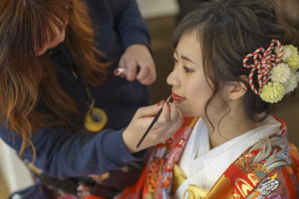 大阪の結婚前撮り和装のヘアメイク