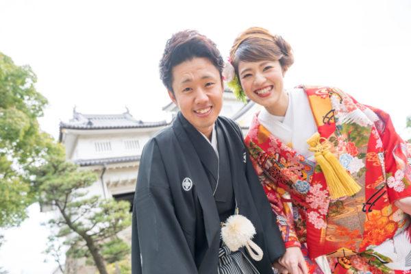 大阪の結婚前撮り和装のロケ岸和田城お客様