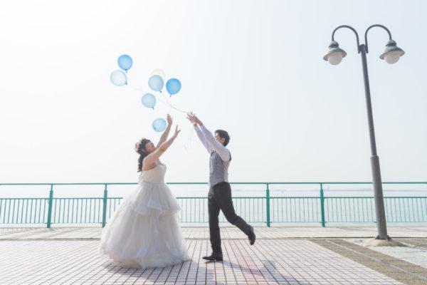 大阪の結婚前撮りロケりんくう公園