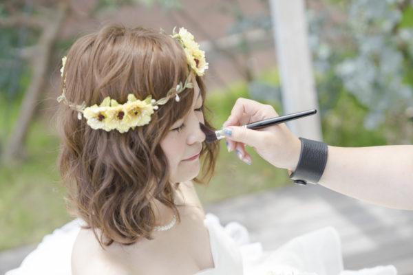 大阪の結婚前撮りドレス撮影メイク
