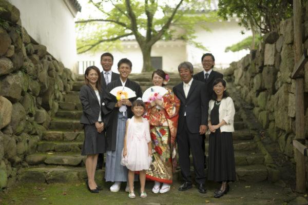 大阪の結婚前撮りロケ岸和田城家族写真