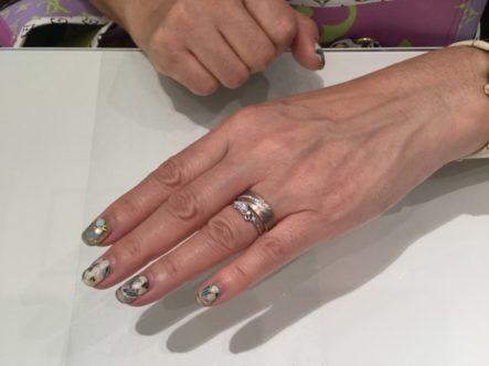 ミルク&ストロベリーのリフォーム婚約指輪とフィッシャーの結婚指輪をご成約いただきました(高槻市)