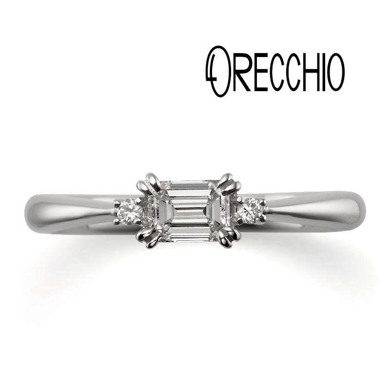 ORECCHIOの婚約指輪エメラルドカット