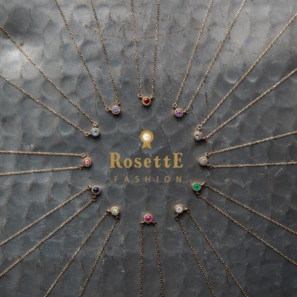 ロゼット 誕生石ネックレス