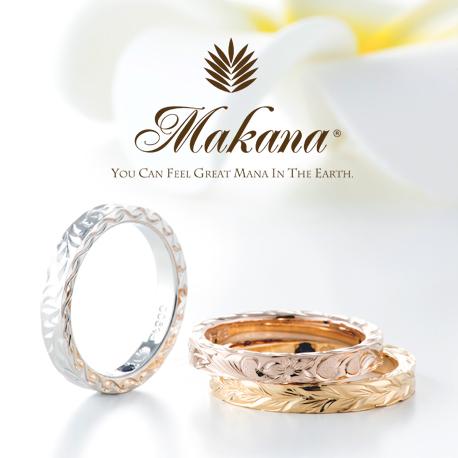 ゴールドの結婚指輪デザインでハワイアンジュエリーのMakanaのスリムタイプ