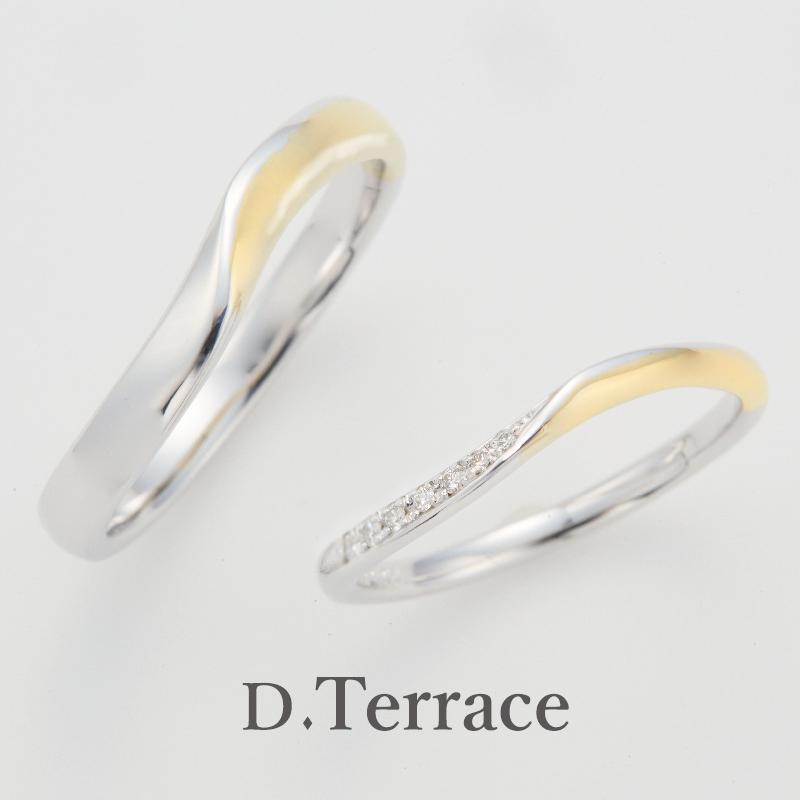 ゴールドの結婚指輪デザインでD.Terraceのスヘルデ川