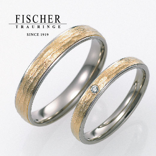 ゴールドの結婚指輪デザインでFISCHER