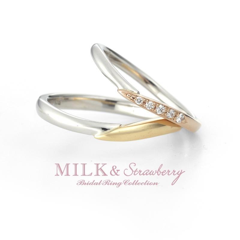ゴールドの結婚指輪デザインでミルクアンドストロベリーのエテルナ