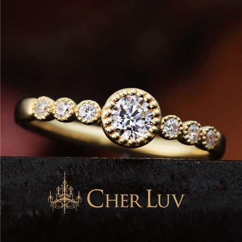 ゴールドの婚約指輪デザインでCHER LUVのブバルディア